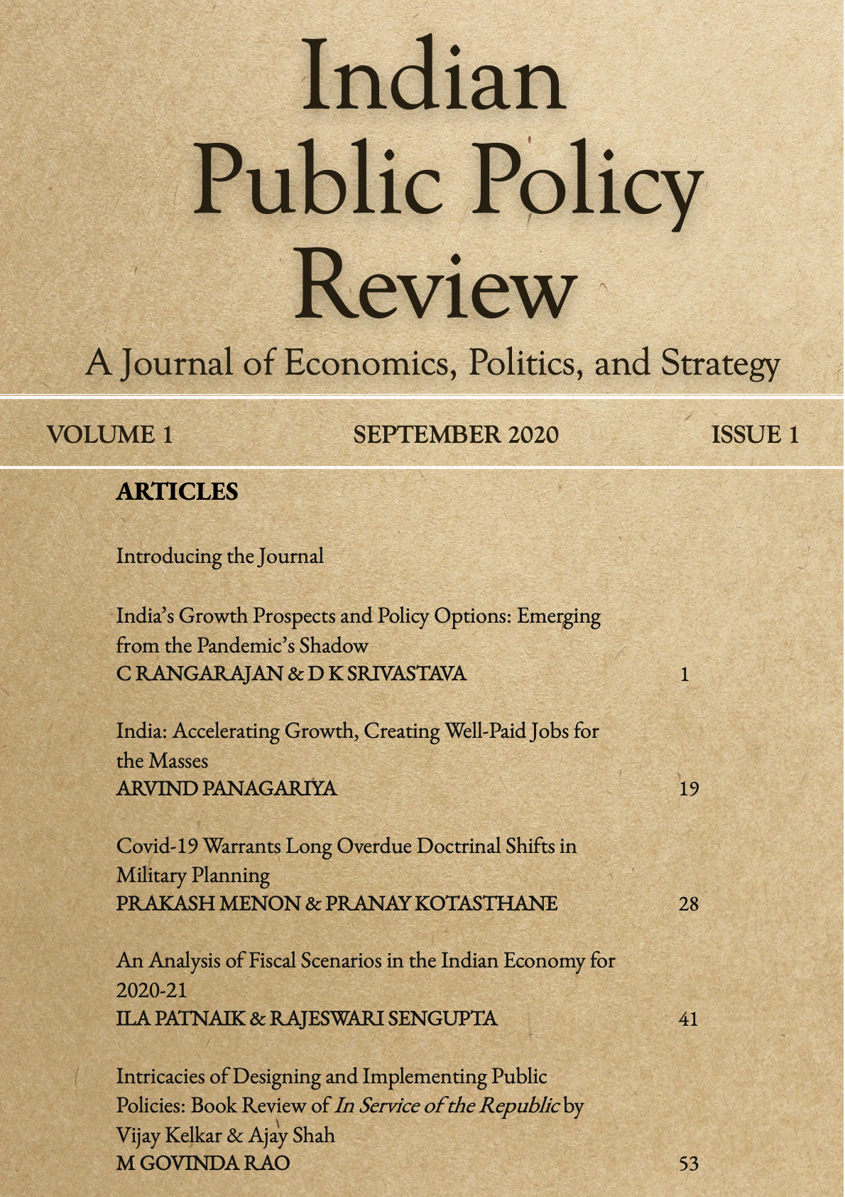 Cover page of IPPR Vol1 Issue1