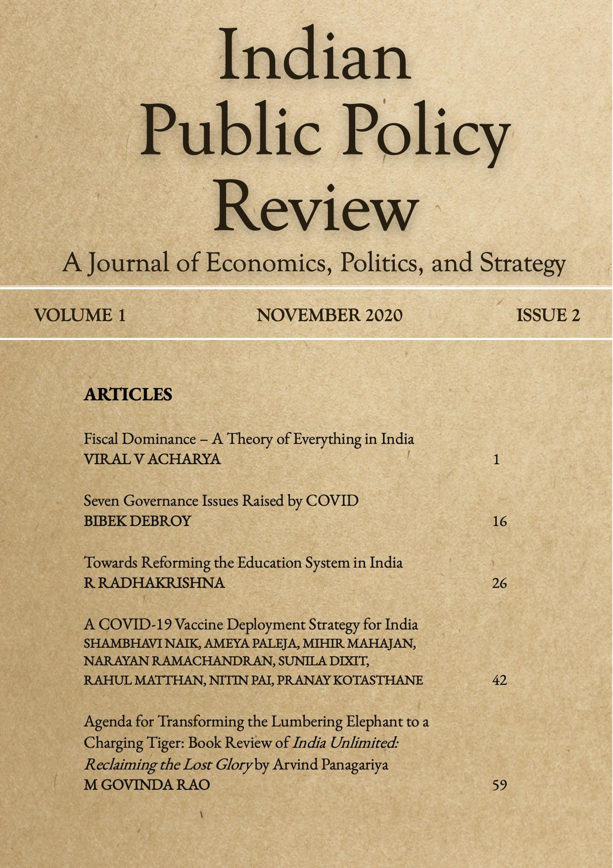 View Vol. 1 No. 2(Nov-Dec) (2020): Indian Public Policy Review