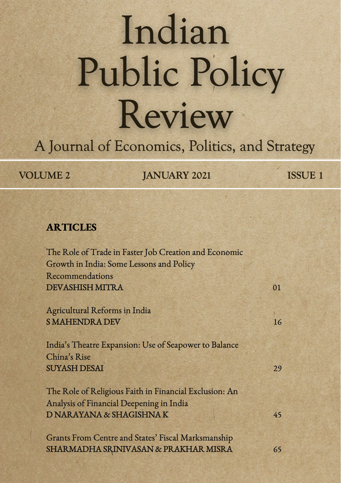 View Vol. 2 No. 1(Jan-Feb) (2021): Indian Public Policy Review