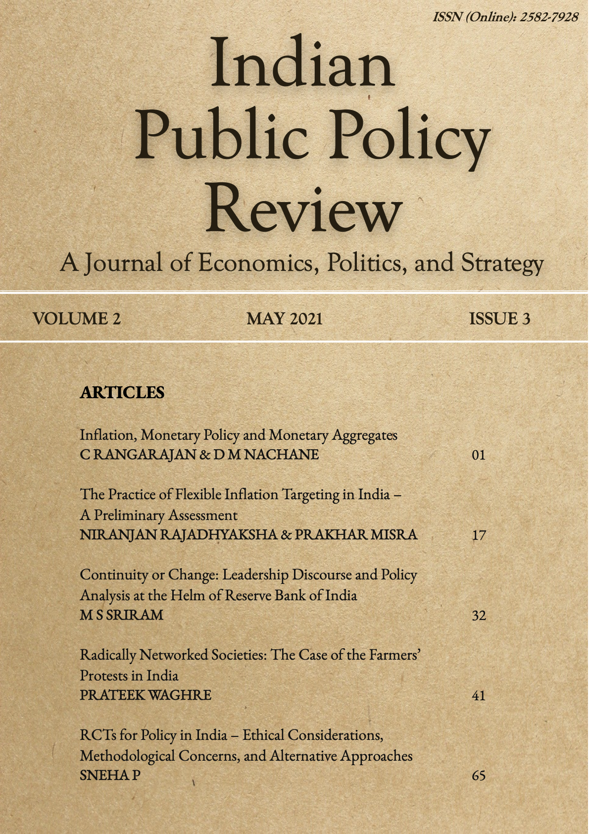 View Vol. 2 No. 3 (2021): Indian Public Policy Review